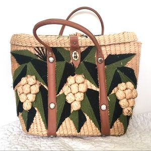 Vintage Mid Century 50s/60s Wicker Embroidered Bag